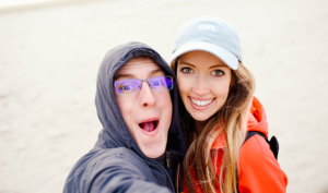 Jessa on a windy beach with her husband Kendall